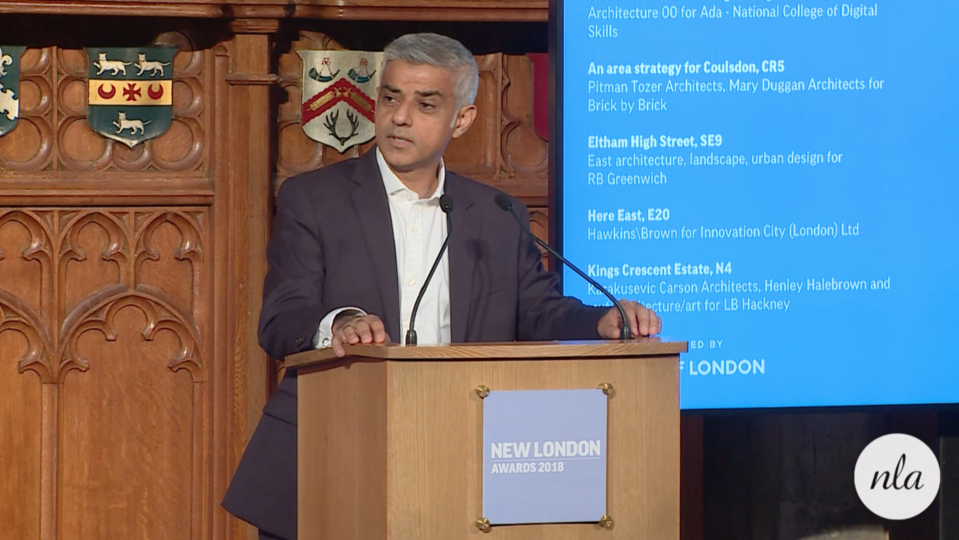Sadiq Khan at the New London Awards 2018